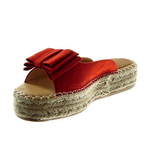 Nodo Mules Intrecciato Tacco 4 Angkorly Zeppe Donna On Scarpe Corda Rosso Slip cm Sandali Moda Zeppa Piattaforma twxwfqT8
