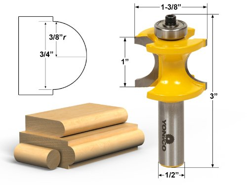 Yonico 13117 Bullnose Router Bit with 3/8-Inch - 3/4-Inch Bead 1/2-Inch Shank