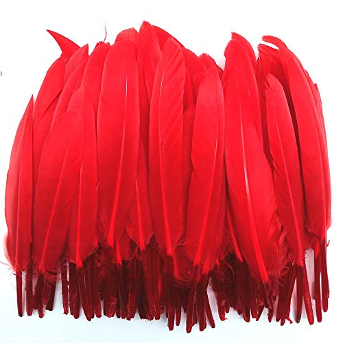 100pcs Goose Feathers Colorful Dyed Natural Duck Feather for Crafts DIY Wedding Party Decorations Accessories 3.14-5.9inch/8-15cm(Red)