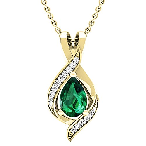 Dazzlingrock Collection 14K Pear 9X6 MM Lab Created Emerald & Round Diamond Ladies Pendant, Yellow Gold