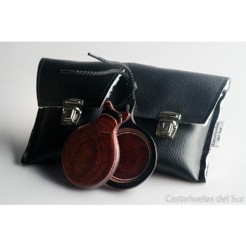 フラメンコ カスタネット.Pair of Flamenco Castanets Marbled Wood RED & White. Includes a carrying bag   B00F56O546
