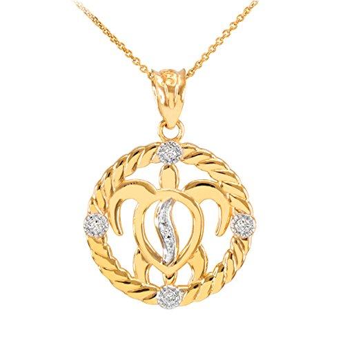 14k Yellow Gold Diamond-Accented Lucky Hawaiian Honu Turtle Pendant Necklace, 22