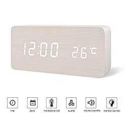 Office Desk Clock---FiBiSonic Black Wooden Clock White LED Digital Voice/Touch Control Desk Silent Modern Style Alarm Clock with Thermometer , Best Gifts for Friends/Families