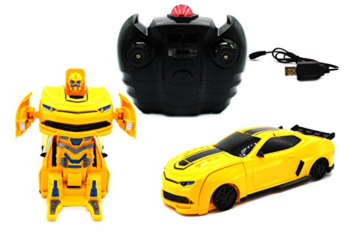 Small RC Toy Transforming Robot Remote Control (3 band) Wall Climbing Sports Car with One Button Transformation 1:24 Scale (Yellow)
