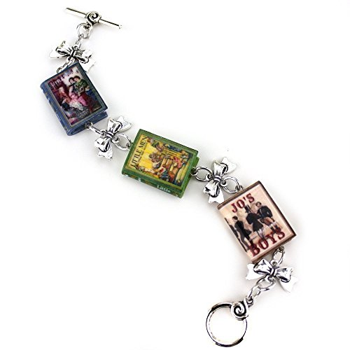 Men Jo's Boys LOUISA MAY ALCOTT TRILOGY Polymer Clay Mini Book Bracelet by Book Beads (Vintage Black Sailor Girl Nose)