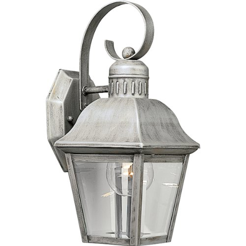 Progress Lighting P5687-44 Andover One-Light Small Wall Lantern with Solid Brass Construction and Beveled Glass Panels with Hinged Door, Oxford Silver