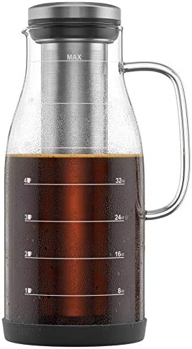 Shanik Cold Brew Coffee Maker – Perfect Iced Coffee Maker Iced Tea Maker, Measured Glass with Handle and Spout. Stainless Steel Filter and Silicone Base. Easy to Clean, Cleaning Brushes Incl – 48oz