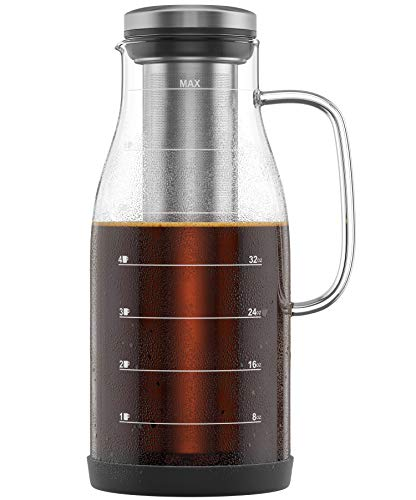 (Shanik Cold Brew Iced Coffee Maker/Iced Tea Maker, Measured Glass with Handle and Spout, Stainless Steel Filter and Silicone Base, Easy to Make Fresh Coffee and Clean Up! 48oz)
