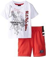 U.S. Polo Assn. Baby Boys' 2 Piece Large Pony Print Tee Athletic Short Set