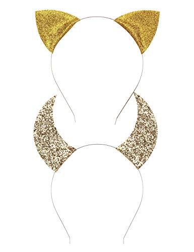 Uniqhia Halloween Headband Devil Horns and Felina Glitter Cat Ears Headbands Kitty Headbands]()