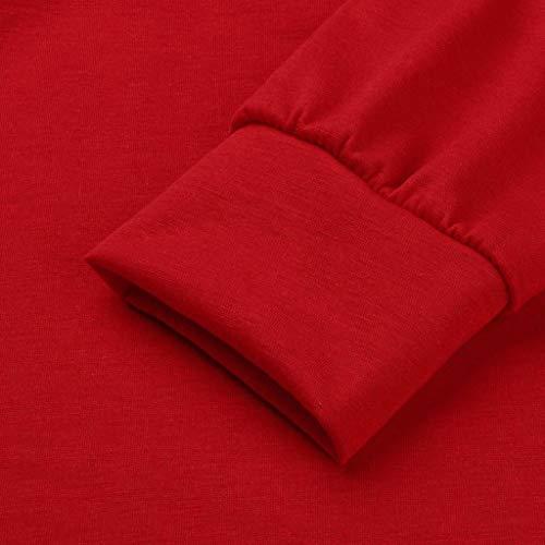 Trydoit Chic Femmes Shirt Rouge Longues T Manches Chemise qyS8fBqr