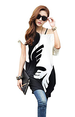 Relipop Women Batwing Sleeve Shirt Bohemian Long Tunic Tops Summer Blouse (Medium, Black and White)