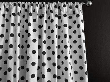 Zen Creative Designs Polka Dots on White Cotton Curtain Panel Perfect for Bed Room Window, Children s Room Window, Living Room Window Decor Black Dots, 108 Tall x 58 Wide