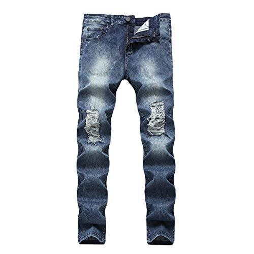 Uomo Fit A Blu Da Alto Con Slim Dritta E Targogo Vita Alta In Elastico Pantaloni Elasticizzati Denim Jeans Bassa xqwnUHUX5z