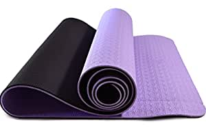 Yoga Mat - Eco Friendly, Nonslip for Hot Yoga; Travels Easily in Your Yoga Bag; Comes with Yoga Mat Strap Carrier; Best, Thick, Organic Mat for Exercise, Pilates and Yoga; Money Back Guarantee (Black/Lavender)