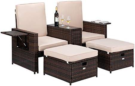 VINGLI 5 PCS Patio Wicker Loveseat Outdoor Patio Adjustable Lounge Chair