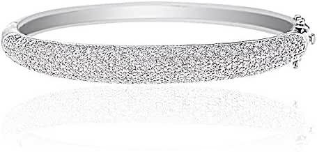 Lumineux Diamond Womens White Gold Plated Silver Pave Diamond Accent Textured Bangle Bracelet