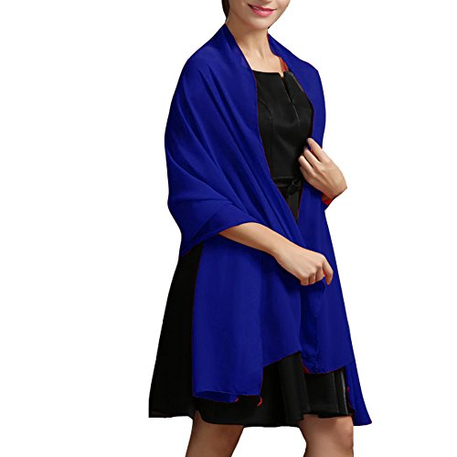 Aiyi Chiffon Wedding Shawl Wrap Scarves for Women Evening Prom Bridesmaid Dress Royal Blue from Aiyi