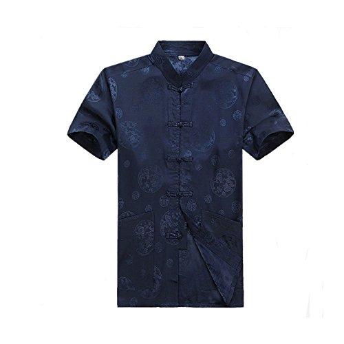 (ZooBoo Men's Martial Arts Kung Fu Short Sleeve Shirt Tang Tops (Royal Blue, L/175))