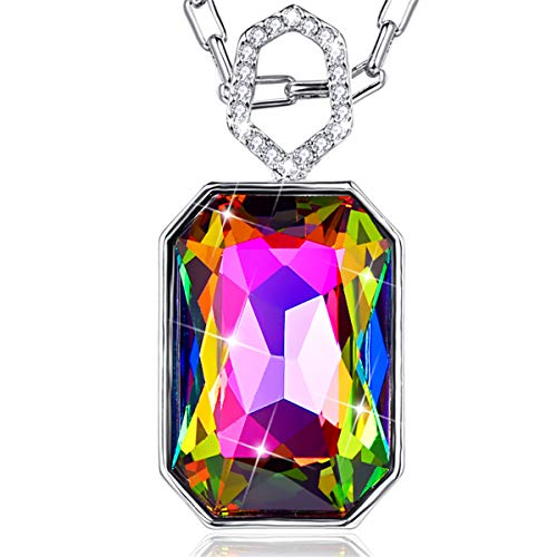 BONLAVIE Colorful Pendant Necklace W/Purple Rectangle Austrian Crystal White Gold Plated Jewelry for Women Girls