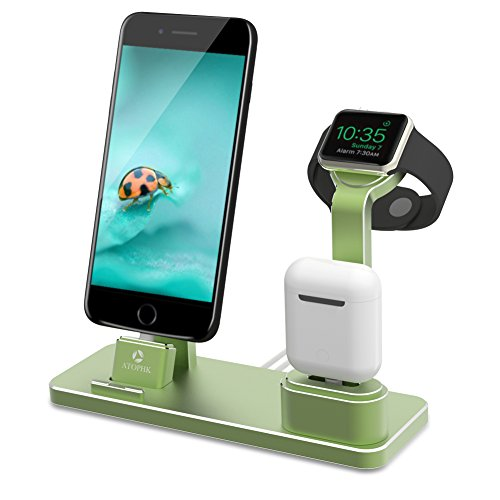 ATOPHK 4 in 1 Apple Watch Stand Aluminum NightStand Mode, Airpods Cell Phone Holder Desktop Bracket Charging Dock Station for Airpods iPhoneX 8 8plus 7 7plus 6S 6plus iWatch(38/42mm) (101-Grass green)