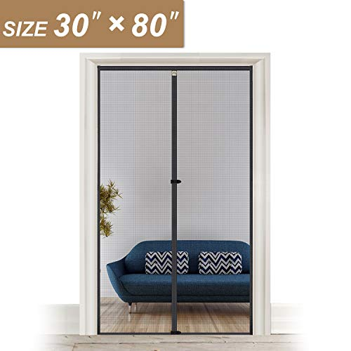 Fiberglass Magnetic Screen Door 30 x 80, Heavy Duty for Entry Front Door Size 30