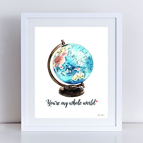 Vintage Globe Art My Whole World Art Globe Painting Globe Watercolor Travel Theme Wedding Decor Nursery Art Baby Shower Gift World Map (Wedding Theme Colors)