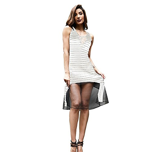 Beauty Perspective Casual White Women Dress Lace Stripe Garden Summer up Fashion TwAq1xUT