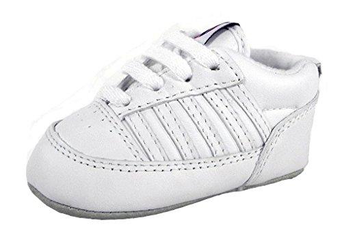 K-Swiss 2611 Crib 5 Stripe Shoe (Infant),White,3 M US Infant