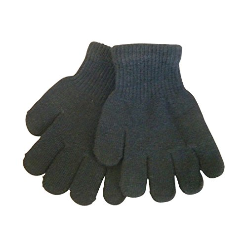 [Black Kids Gloves Magic Knit Gloves for Girls/Boys Solid Colors] (Black Girls Gloves)