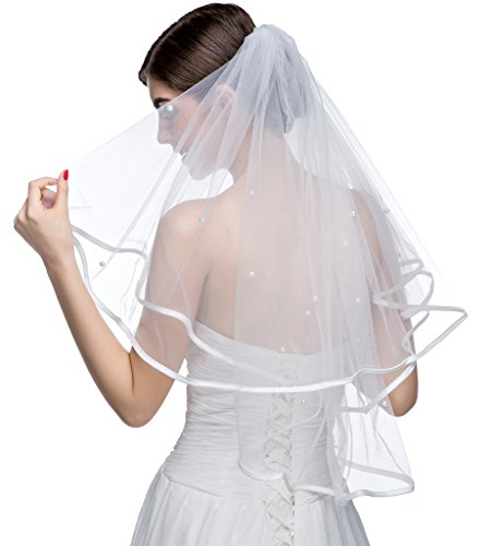 Edith qi 2 Tier Pearl Satin Ribbon Edge Short Elbow Bridal Wedding Veil with Comb