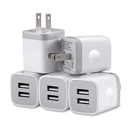 USB Wall Charger Plug, WITPRO 5-Pack 2.1A/5V Dual USB Port Power Adapter Charging Cube Compatible with iPhone X/8/7/6 Plus SE/5S/4S, Samsung, LG, HTC, Android Cell Phone