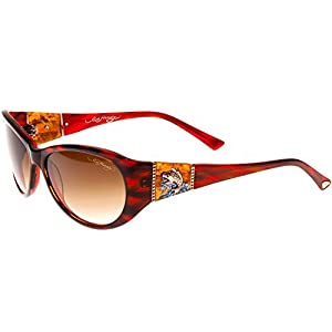 Ed Hardy Jumping Koi Sunglasses Red Horn Brown Gradient 58 16 130