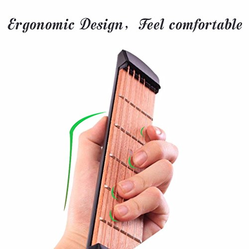 Large Product Image of OIBTECH Pocket Guitar,6 Fret Strings Portable Guitar Practice Tool Gadget with Tuning Tool For Beginner Fingering Chord Trainer