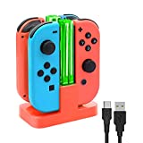 FYOUNG Charging Dock for Nintendo Switch Joy-Con,Charging Station for Nintendo Switch with a USB Type-C Charging Cord- Red (Color: Red)