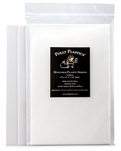 Polly Plastics Heat Moldable Plastic Sheets - 3 Thermoplastic Sheets, 8-inch x 12-inch -