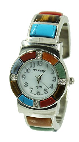 1942 Gem - Gem Stone Watch Bangle Cuff Inlay Style with Crystal Accents