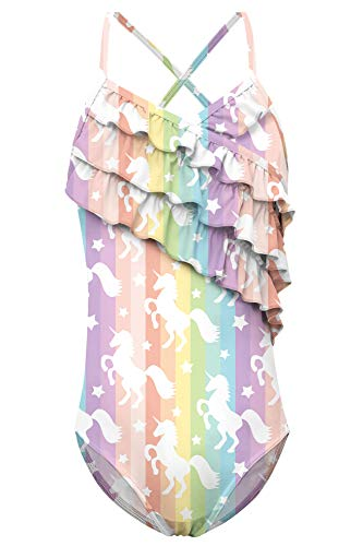 TUONROAD Modest Hawaiian Style Teenage Modest One Piece Swimsuits Rainbow Stripes Unicorn Well Stretch Comfy 6T 7T 8T Swimming Costume for Growing Girls(Unicorn,Medium)]()