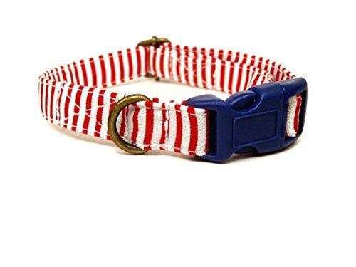 Red Striped Dog Collar - Very Vintage Design Yacht Club Dog Cat Collar Red White Striped Collection Organic Cotton Personalized Adjustable Pet Bandana