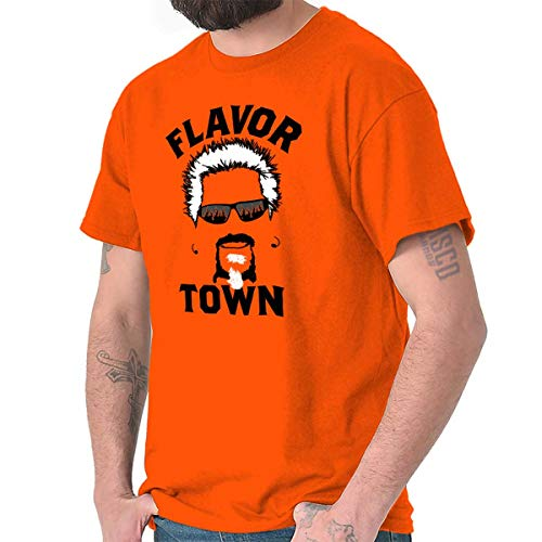 Brisco Brands Food TV Flavor Town Funny Meme Foodie T Shirt Tee Orange (Key West Diners Drive Ins And Dives)