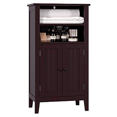 Homfa Bathroom Floor Cabinet Wooden Storage Organizer with Double Doors Adjustable Shelf Free Standing Kitchen Cupboard for Home Office