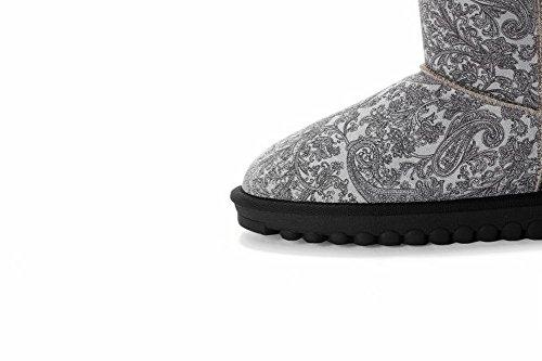 Mee Shoes Damen flach kurzschaft warm gefüttert Schneestiefel Grau