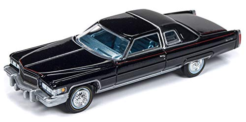 1976 Cadillac Coupe DeVille D'Elegance Gloss Black with Flat Black Roof Luxury Cruisers Limited Edition to 4,680 Pieces Worldwide 1/64 Diecast Model Car by Autoworld 64192/ AWSP017 A
