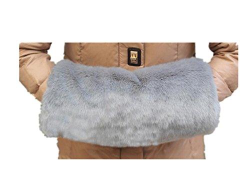 2017 Winter Women Luxurious Faux Rabbit Fur Muffs Mittens Wrist Hand Warmer gloves,One Size,Gray ()