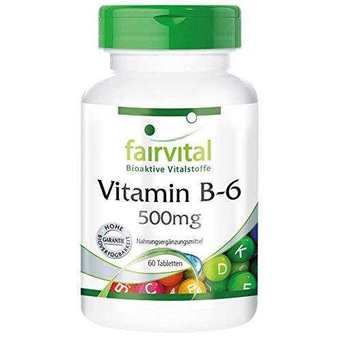 Vitamin B-6 500mg - 60 Tabletten - Pyridoxinhydrochlorid hochdosiert - Reinsubstanz