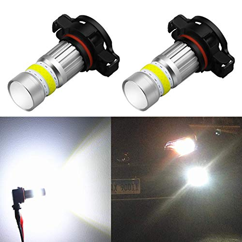 Dodge Stock Super - Alla Lighting 2800lm Xtreme Super Bright PSX24W LED Bulbs Fog Light High Illumination COB-72 LED PSX24W Bulb 12276 2504 PSX24W Fog Lights Lamp Replacement - 6000K Xenon White
