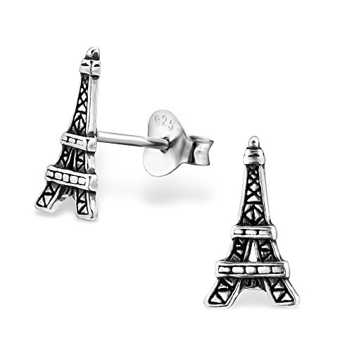 925 Sterling Silver Hypoallergenic Eiffel Tower Stud Earrings for Girls 29367 (Tower Eiffel Ring)