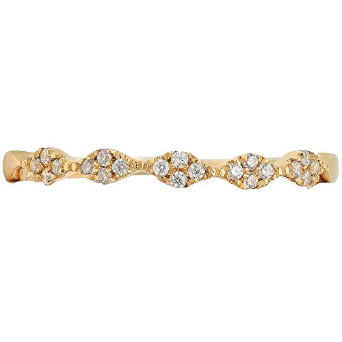 0.5ct Brilliant Round Cut Solitaire Petite Stackable Bridal Wedding Promise Anniversary Band 14k Solid Yellow Gold, 7