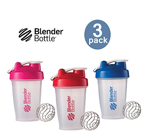Blender Bottle with Shaker Ball 20 Oz, Pack of 3 Pink, Red, Blue