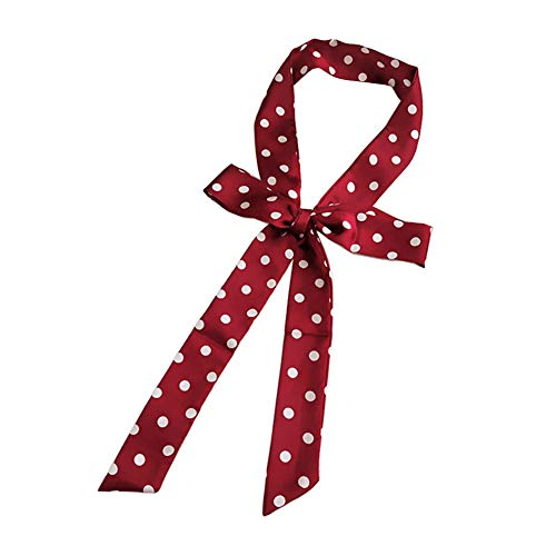 1PCS Multifunction Red Ribbon White Wave Dot Pattern Small Narrow Neck Scarves Tie Sash Silky Satin Neckerchief Stylish Match Clothes and Decoration Your Hat Handbag Shoes and More (Dot Jacquard Ribbon)